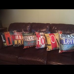 6 pillows with inspirational sayings